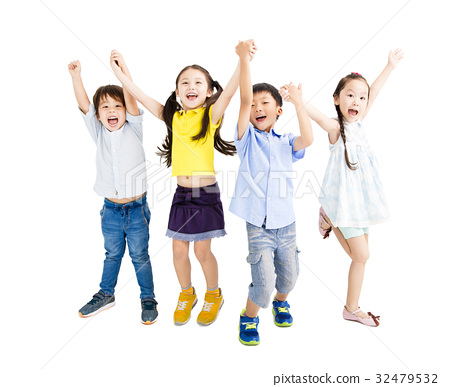 Group of happy  kids jumping and dancing 32479532