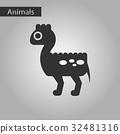 black and white style icon dinosaur 32481316