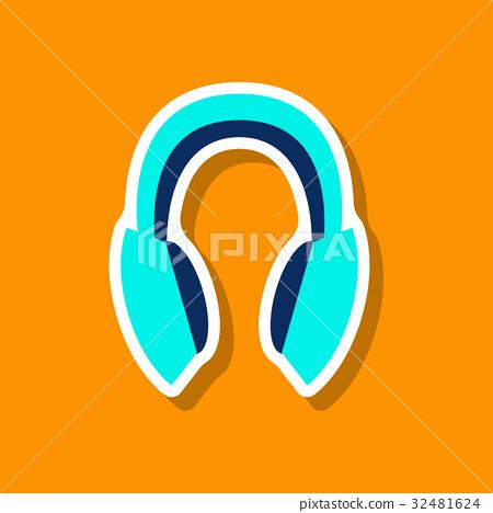 paper sticker Technology gadget headphones 32481624