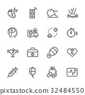 Heart attack first aid icons set 32484550