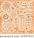 Set of floral elements isolated for your design. 32487632