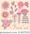 Set of floral elements isolated for your design. 32487650
