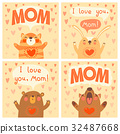 Greeting card for mom with cute animals. 32487668