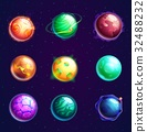 Set of isolated cartoon planets with satellites 32488232