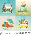 Seasons signs for summer, autumn, spring, winter 32488265