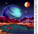 Cartoon planet landscape or scenery terrain 32488273
