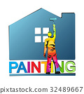 Painter paints house vector illustration 32489667