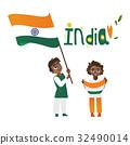 india, flag, kid 32490014
