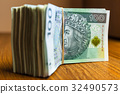 Stack of polish zloty banknotes 32490573