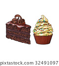 Hand drawn desserts - cupcake and piece of layered 32491097