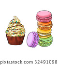Hand drawn desserts - cupcake and stack of 32491098
