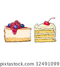 Hand drawn desserts - pieces of cheesecake and 32491099