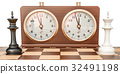 Checkerboard with kings and chess clock 32491198