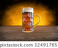 oktoberfest glass of beer on wooden table - 3D 32491765