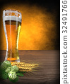glass of beer with barley and hops - 3D render 32491766