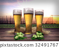 three glasses of beer with hop-garden background - 32491767