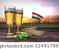 beer consumption in Hungary. 3D render 32491799