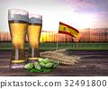 beer consumption in Spain. 3D render 32491800