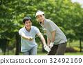 高爾夫中間夫婦體育高爾夫球場圖像 32492169
