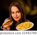 fries, french, hamburger 32492786