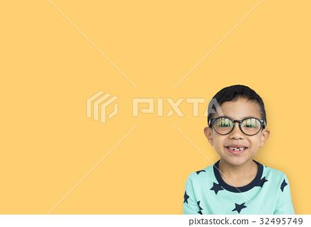 Little Boy Wear Glasses Smile Studio 32495749