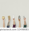Ecology human hand holding stuff for recycle 32498683