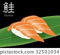 サーモンの寿司のリアルイラスト|握り寿司 巻物 32501034