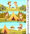 Scouts Activities Cartoon Banners Set 32504778