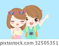 cartoon couple go to travel 32505351
