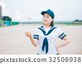 นักเรียนมัธยมปลาย,ลูกเบสบอล,เด็กผู้หญิง 32506938
