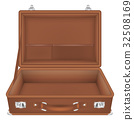 front view of open suitcase travel bag 32508169