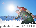 Loving couple playing together in snow outdoor. 32511931