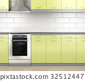 Stove and range hood in the kitchen 32512447