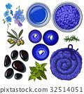 Blue set of spa salon accessories - basalt stones 32514051