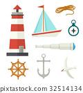 nautical, set, cartoon 32514134