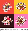 Digital vector red brown sweet 32514489