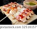 Bacon roll with enoki mushroom grilled. 32516157