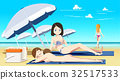 Women sunbathing on nude beach. 32517533
