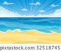 Sandy beach under the bright sun 32518745