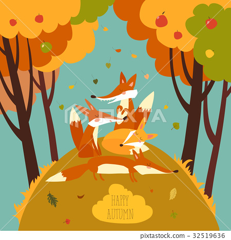 Cute foxes in autumn forest 32519636