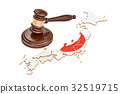 Wooden Gavel on map of Japan, 3D rendering 32519715