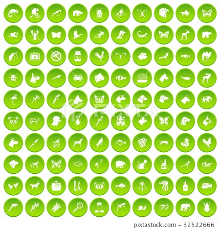 100 animals icons set green circle 32522666