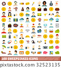 100 sweepstakes icons set, flat style 32523135