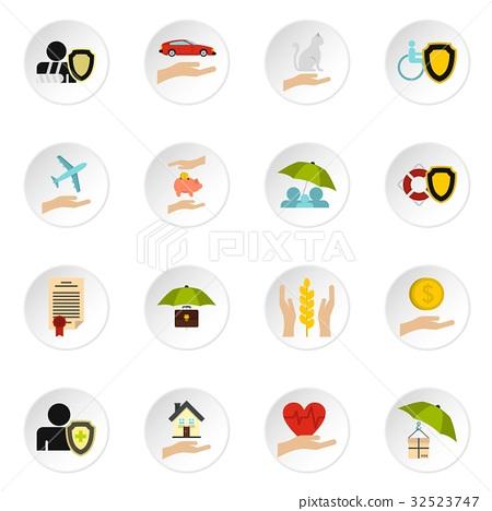 Insurance icons set, flat style 32523747