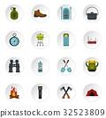 camping, icons, set 32523809