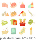 Hygiene cleaning icons set, cartoon style 32523815