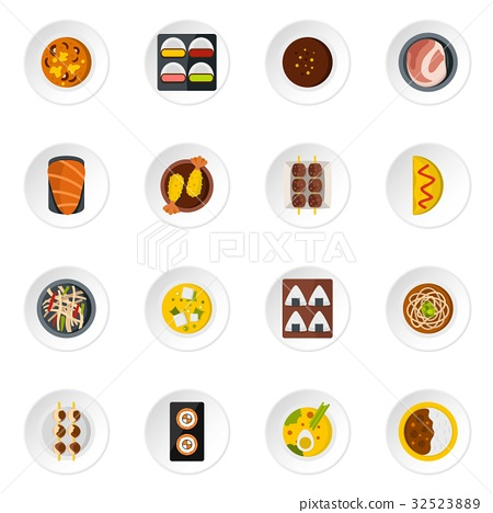 Japan food icons set in flat style 32523889