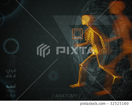 3d illustration of walking fire skeleton by X-rays 32525160