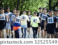 marathon runner, marathon, cloth bib with number or logo worn by athletes 32525549