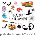Set of Cartoon design, Halloween icons sticker. 32529516